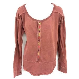 Free People Embroidered Henley Top Womens M